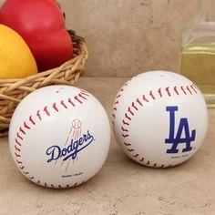L.A. Dodgers Baseball Salt & Pepper Shaker Set