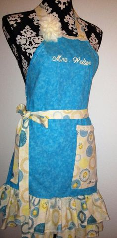 Blue Floral/Doily Macy Makes Apron! Order your Custom Apron today!! Can be shipped anywhere in the US. macymakes@aol.com