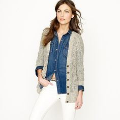Love this look of the denim button up and relaxed cardigan. From J. Crew