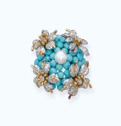 A TURQUOISE, DIAMOND AND PEARL FLORAL BROOCH, MOUNTED BY JEAN SCHLUMBERGER