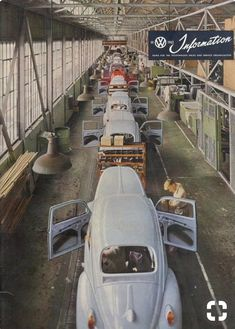 1962 Volkswagen Beetle Assembly Line Vw Bus, Vw Camper, Carros Vw, Automobile, Kdf Wagen, Vw Vintage, Assembly Line, Route 66, Vw Beetles