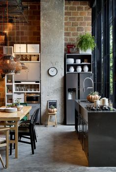 - furniture & home decor from Chicago saved to Spectacular soft-industrial kitchen here, love the use of concrete and the mix of open and closed shelves. 29 Stunning Industrial Kitchen Decor Designs For Your Urban Cooking Space Industrial Chic Decor, Industrial Kitchen Design, Industrial House, Interior Design Kitchen, Modern Interior Design, Kitchen Decor, Industrial Office, Industrial Farmhouse, Vintage Industrial