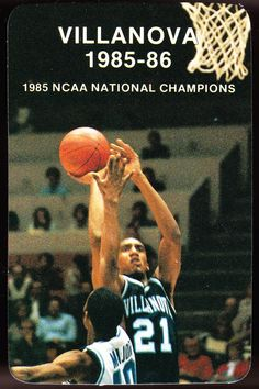 1985-86 VILLANOVA WILDCATS MENS BASKETBALL CHAMPIONS POCKET SCHEDULE FREE SHIP #Schedule