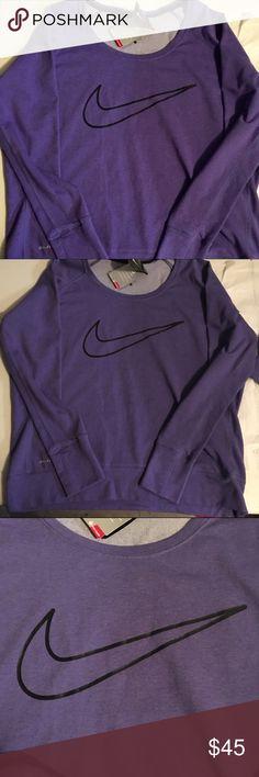 Nike dri-fit purple sweatshirt NWT Purple nike dri-fit sweatshirt super soft and comfortable brand new!! Nike Tops Sweatshirts & Hoodies