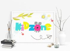 Playroom decor kid zone sign printable art kids room decor