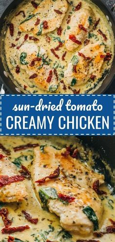 Creamy sun-dried tomato chicken with spinach and garlic: This chicken skillet dinner has garlic, sun-dried tomatoes, and spinach in a creamy buttery sauce. dinner Tuscan Chicken With Sun-Dried Tomatoes & Creamy Garlic Sauce Sundried Tomato Chicken, Spinach Stuffed Chicken, Chicken Sun Dried Tomatoes, Vegetarian Recipes, Cooking Recipes, Healthy Recipes, Keto Recipes, Creamy Garlic Sauce, Tuscan Chicken