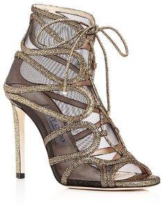 75281f178155 Jimmy Choo Women s Malena 100 Crackled Leather High-Heel Sandals