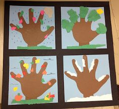 Seasons unit idea: looking out the window. Kids trace their hands on to brown paper, stick on to blue paper, which is then stuck on to black cardstock. Decorate the tree hands accordingly. This would make an ideal buddy craft.