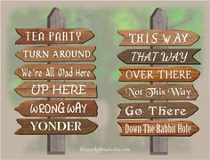Ever wanted to make a sign post featuring places from Alices Wonderland the easy way, without needing carpentry or painting skills? You can fake it with this printable Alice in Wonderland sign post kit that you can download instantly upon purchase! Perfect for Alice in Wonderland themed parties.  On purchase, you will receive a printable PDF high quality DIGITAL FILE containing 6 pages, with 3 printable arrows on each page, for a total of 12 different printable arrows (see image), plus 2…