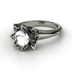 Lotus Ring, Round Rock Crystal White Gold Ring with Black Diamond from Gemvara