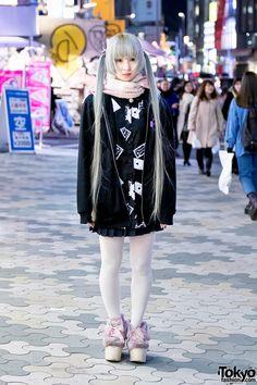Harajuku Girl in Pastel Twintails w/ Hoodie, Pleated Skirt, Randoseru & Swankiss Shoes