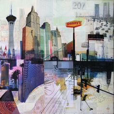 """ARTFINDER: Vegas Baby by Jon Measures - Mixed media collage of digital prints and acrylic paint on wood panel. Part of the Road Trip series called """"PLACE"""""""