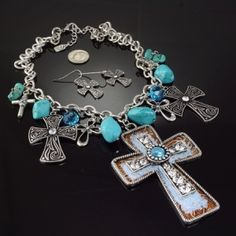 Glitter Cross Turquoise Western Jewelry Necklace Set