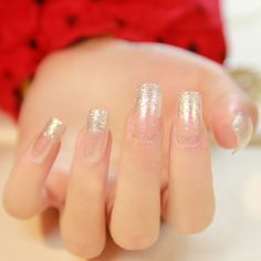 NEW 2014 High Quality beautiful bride wedding French silver glitter square finger nail elegant false nails,24 pcs, free shipping $9.58