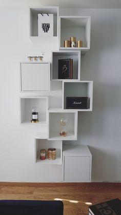 Ikea Ma, Ikea Eket, Ikea Living Room, Ikea Bedroom, Natural Home Decor, Diy Home Decor, Room Decor, Wooden Shelves, Floating Shelves