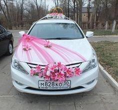 arreglos para carro de novia rosa