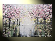 Original Art Abstract Painting Pink White Cherry Tree Blossoms Flowers Trees Rain Park Lights Palette Knife Modern Contemporary Paintings by Artist Christine Krainock. Contemporary Paintings, Modern Contemporary, Contemporary Chandelier, Contemporary Architecture, Contemporary Building, Contemporary Cottage, Contemporary Apartment, Contemporary Landscape, Contemporary Bedroom