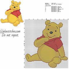 Winnie The Pooh sitting free cross stitch pattern size 97 x 110 stitches and 7 dmc threads