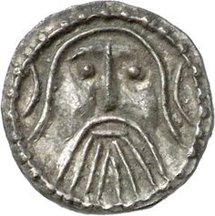 Silver early penny, Series Z, c. 715-20; the bearded and moustached face contrasts with the clean-shaven appearance of the previous coin. CM.1614-2007, De Wit Collection.