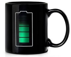 Battery Mug tells you how hot your coffee is. . . or you can take a sip.