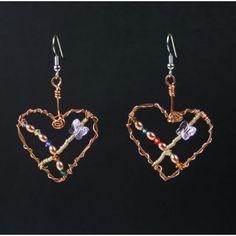 Heart shapes wire earrings with swarovski crystals. Wire Earrings, Heart Earrings, Drop Earrings, Bling Jewelry, Jewelery, Habitat For Humanity, Gem S, Artisan Jewelry, Heart Shapes
