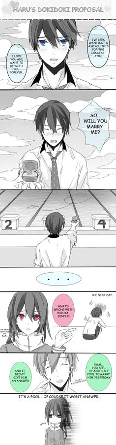 Iwatobi Swim Club fan comic- Lol Is anybody else reminded of YGOTAS's Mako Tsunami and his relationship with the ocean when they see Haru proposing to the pool? Haruka Nanase, Makoharu, Gou Matsuoka, Otaku, I Love Anime, Awesome Anime, Swimming Anime, Splash Free, Free Eternal Summer