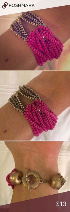 Chain bracelet- pink and gold Super cute gold and pink chain bracelet from Piperlime. Piperlime Jewelry Bracelets