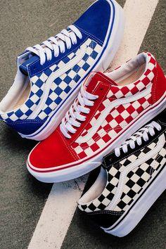 """Vans """"Primary Check"""" Old Skool Pack - Sneakers Cute Vans, Cute Shoes, Me Too Shoes, Cool Vans Shoes, Tenis Vans, Vans Sneakers, Sock Shoes, Shoe Boots, Shoes Heels"""