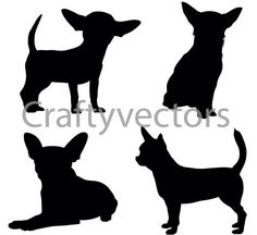 Chihuahua Dog Silhouettes Vector SVG by CraftyVectors on Etsy Chihuahua Tattoo, Chihuahua Love, Silhouette Clip Art, Animal Silhouette, Dog Outline, Dog Control, Yorkshire Terrier, Pet Dogs, Pets
