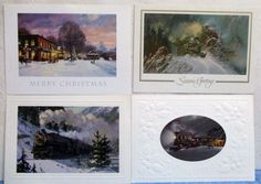 Vintage 4 National Roadroad Museum Christmas Card Samples #31 c1