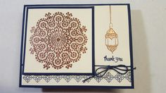 Moroccan Nights. Stampin Up images. Used night of navy and our new copper embossing powder.