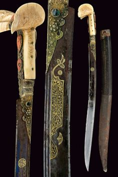 Ottoman yatagan, 19th century, typical, slightly curved, single-edged blade with double rear groove, blued at the first part, with a round, gold cartouche with Arabic inscription, and decorations with inscriptions in gold. It has a gilt copper hilt, decorated with filigree and large cabochon corals and glasses. The walrus ivory grip scales features the typical large 'ears', while the wooden scabbard is covered in leather and has simple iron mounts. overall length 75 cm