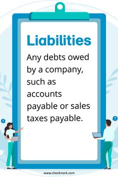 Liabilities: Any debts owed by a company, such as accounts payable or sales taxes payable. Accounting Notes, Learn Accounting, Accounting Basics, Accounting Course, Accounting Principles, Accounting Student, Small Business Accounting, Business Education, Business Marketing