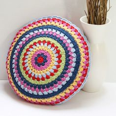 Ready to Ship Round Colorful Crochet Vintage-Style Granny Cushion Pillow, COVER ONLY, Bright Multicoloured, Cotton Yarn, To Fit 16 inch Pad by PatchKnitStitch on Etsy