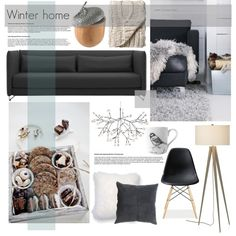 A home decor collage from September 2014 featuring colored furniture, plastic chairs and crate and barrel lighting. Browse and shop related looks.