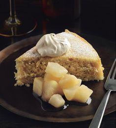 Buttermilk Spice Cake with Pear Compote and Creme Fraiche (via bon appetit)