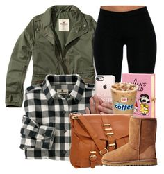"""The Girl on Campus #CollegeGirls"" by melaninprincess-16 ❤ liked on Polyvore featuring Hollister Co., Woolrich, Olympia Le-Tan, Casetify, Big Buddha and UGG Australia"