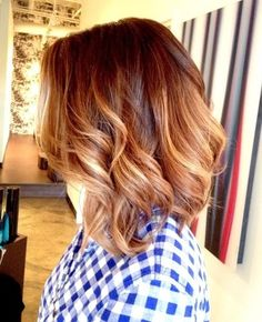 Dark red with carmel and blonde ombre