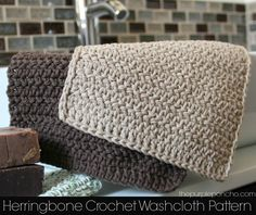 The herringbone stitch is so full of texture and interest.  I love how the stitches slant back and forth and make for a nice washcloth.  These are…