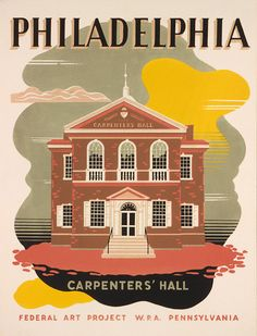 This W.P.A. Federal Art Project poster was created between 1936 and 1941. The poster shows Carpenters' Hall in Philadelphia and was produced to promote tourism to Pennsylvania.