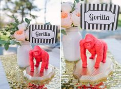 I& going apeshit (heh) over this gorilla table identifier we saw over at Green Wedding Shoes. Picture them at your circus wedding, zoo wedding. any wedding that I& attending (please), etc. Dibs on the bear table! Unique Wedding Centerpieces, Wedding Decorations, Paper Centerpieces, Centrepiece Ideas, Carnival Wedding, Offbeat Bride, Table Names, Wedding Table Numbers, Green Wedding Shoes