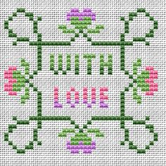 "An idea for a small greeting card with a colorful motif and text: ""With love"". Valintines Day, Cross Stitch Cards, Cross Stitch Patterns, Needlework, Greeting Cards, Letters, Quilts, Embroidery, Sachets"