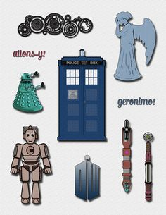 Doctor Who Clipart - A Doctor Who Clip Art set for decorations, cards, or Doctor Who birthday invitations,  Dalek, Tardis  Dr. Who Cybermen