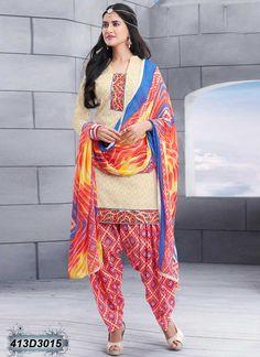 Cream Designer Casual Salwar Suit
