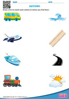 Kindergarten transportation worksheets that allow kids to match each vehicle to where we find them & match similar looking land transportation. These worksheets are free printable. Fun Worksheets For Kids, Nursery Worksheets, Printable Preschool Worksheets, Free Kindergarten Worksheets, Free Printable, Alphabet Worksheets, Matching Worksheets, Preschool Kindergarten, Transportation Preschool Activities