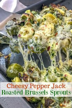Cheesy Pepper Jack Roasted Brussels Sprouts - tender, buttery and caramelized brussels sprouts that are roasted to perfection with onions and cheese! Cheesy Pepper Jack Roasted Brussels Sprouts Linda Woodward FCR VENUE Cheesy Pepper J Vegetable Side Dishes, Vegetable Recipes, Vegetarian Recipes, Cooking Recipes, Healthy Recipes, Keto Recipes, Vegetable Salad, Veggie Recipes Sides, Chicken Recipes