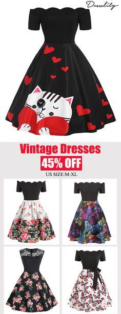dbbea597855 Valentines Day Dresses.Floral Print Vintage Dress.Extra 12% off code DL123