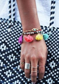 Fully embrace the tassel trend with a multi-tasseled bracelet like this one on style guru Julie of Sincerely, Jules. #Summer #Accessories