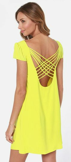 Neon Yellow Shift Dress #spring #brights
