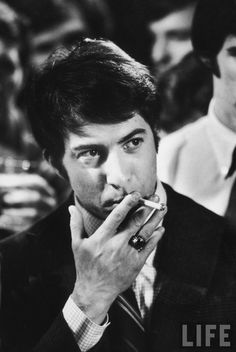 Actor Dustin Hoffman during filming of movie.